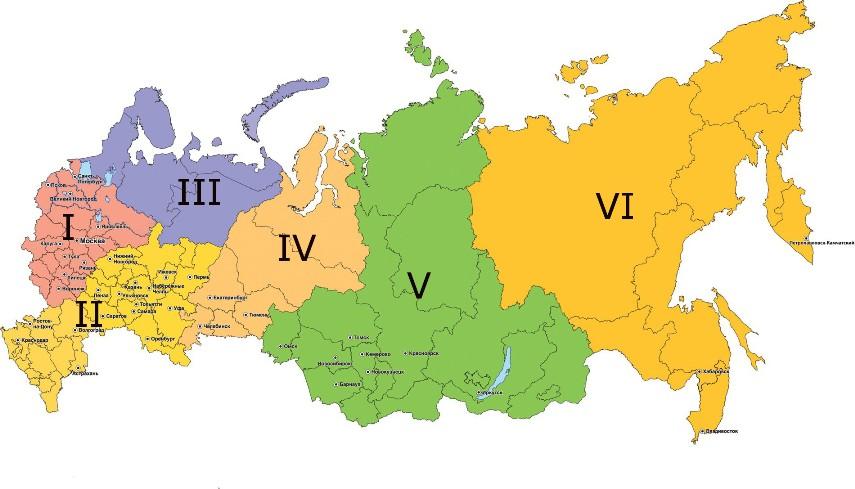 Зоны курьерской доставки товаров Интернет Магазинов по России